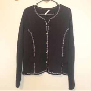Basler| Navy Blazer Sweater with Gold Buttons
